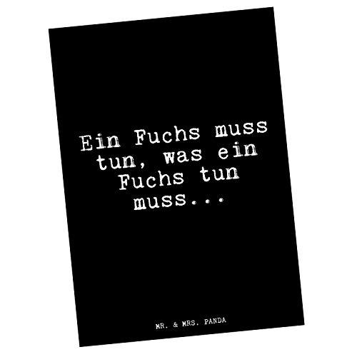 Mr. & Mrs. Panda Postkarte mit Spruch EIN Fuchs muss tun, was EIN Fuchs tun muss.