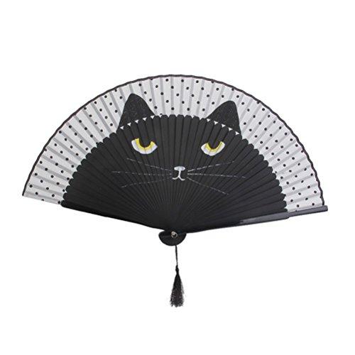 OULII Abanico Plegable de Mano para Mujer, diseño de Gato de Dibujos Animados (Negro)