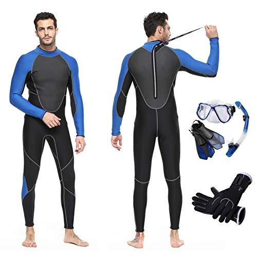 HUOFEIKE Traje de neopreno para hombre, de 3 mm, de neopreno, de manga completa, para surf, protección solar, traje de buceo con conjuntos de buceo y snorkel, natación, triatlón, buceo, XL