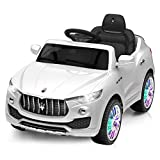 Costzon Kids Ride On Car, Licensed Maserati Battery Powered Vehicle, Parental Remote Control & Manual Modes w/ Opening Doors, Swing Function, Bluetooth, USB, MP3, Horn, Music, LED Lights (White)