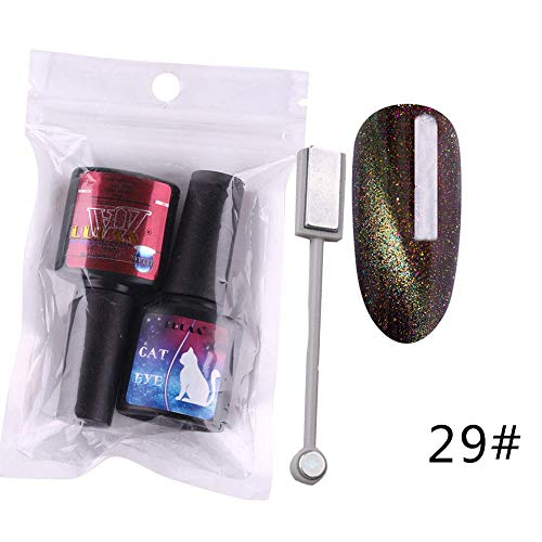 Manucure Faux Vernis à Ongles Cat Eye Gel + Noir Nail LED UV Polonaise Gel polonais semi Ensemble permanent Durable pour Femmes Beauty (E)