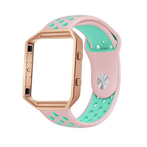 LoveBlue for Fitbit Blaze Band,Fitbit Blaze Sports Silicone Bracelet Strap Wristband Replacement Band Watchband with Frame for Fitbit Blaze (Pink&Azure+Rosegold Frame-Small)