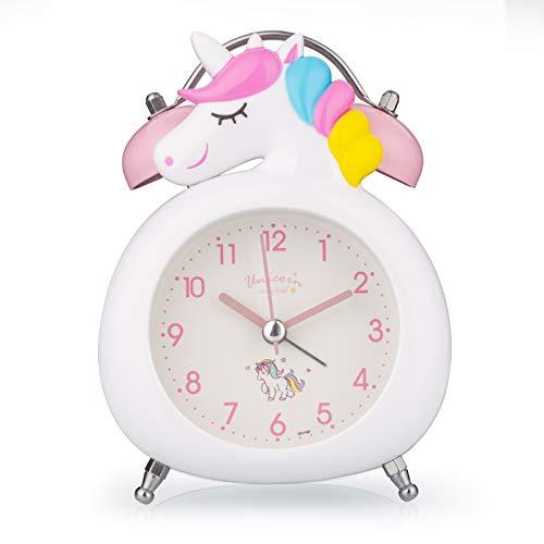 Kinder-Wecker, stille Uhr mit Nachtlicht und lautem Alarm, einfach einzustellen und batteriebetrieben, niedliche Einhorn-Doppelglocken-Uhr, dekorativ, für Mädchen, Schüler-Schlafzimmer