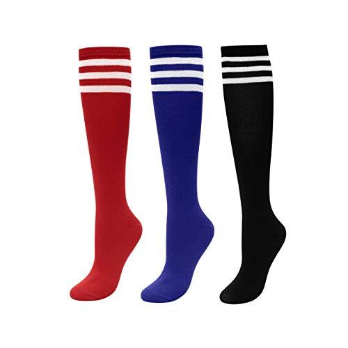 CHIC DIARY Kniestrümpfe Damen Mädchen Fußball Sport Socken College Cheerleader Kostüm Strümpfe Cosplay Streifen Strumpf, 3 Paar(rot+blau+schwarz), Einheitsgröße