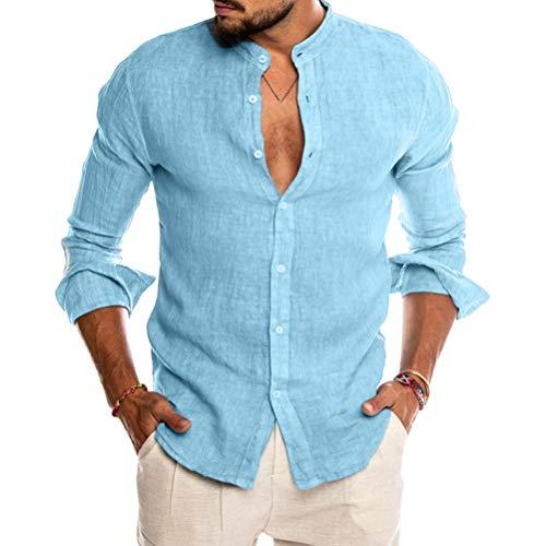 ORANDESIGNE Homme Chemise en Lin Manches Longues Slim Fit Sexy Col V Shirt Mode Casual Plage Chemise Tops Confortable Respirant Bleu Medium