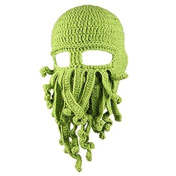 Kafeimali Men s Head Barbarian Vagabond Beanie Original Foldaway Beard Octopus Pirate Hats Bearded Caps  Green