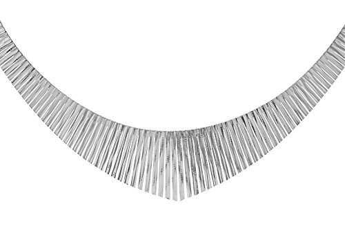 Tuscany Silver Sterling Silver Diamond Cut Graduated Cleopatra Bark Necklace of Length 43.0cm