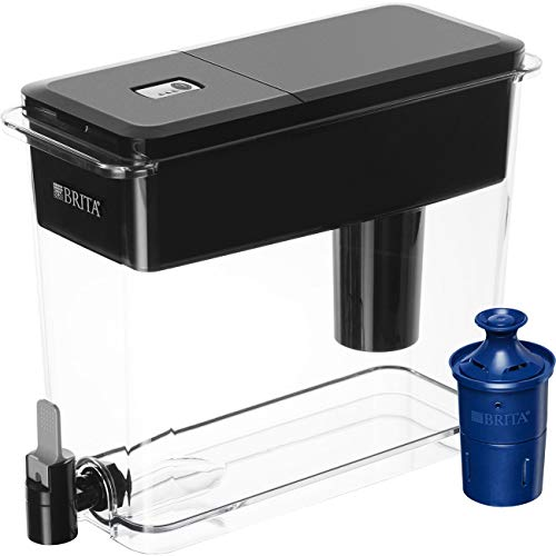 Brita Extra Large 18 Cup Filtered Water Dispenser with 1 Longlast Filter, Reduces Lead, BPA Free – Ultramax, Jet Black (Renewed)