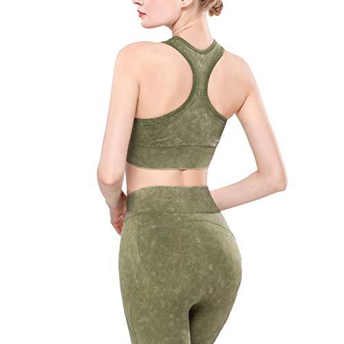 HMMJ Seamless Sujetadores Deportivos de Alta Elasticidad Desgaste del Yoga Lavada Chaleco de Mujeres (Color : Green, Size : L (6))