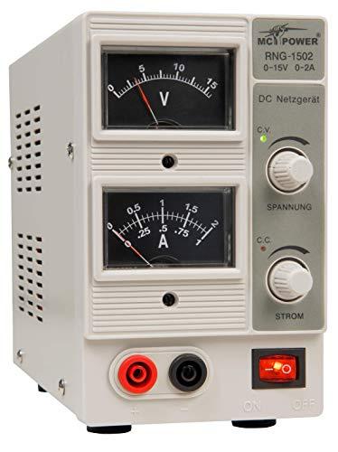 MC POWER - Labornetzgerät | RNG-1502 | regelbar 0-15 V=, 0-2 A, 2x Analog-Anz., 30 Watt | Netzgerät für Hobby, Schule und Beruf | günstiger Einsteiger | Stromversorgung für viele Anwendungen