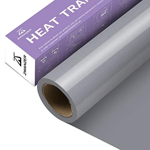 Zwanzer Plotterfolie Textil,30.5cm× 3.66m Flexfolie für Cricut und Silhouette Cameo,Verwendet in DIY-T-Shirt-Kleidung und Anderen Stoffen (Silber)