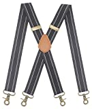 Mens Suspender 4 Swivel Strong Hooks Adjustable Braces Elastic Comfortable X Style Heavy Duty Strap (Black White Stripe)