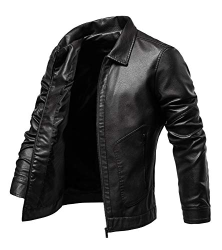 Men's Leather Jacket Vintage Faux Leather Jacket Motorcycle Biker Outwear