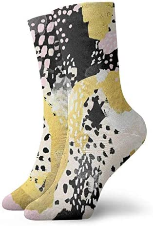 SimoneAbstracte Schilderij Goud Folie Trendy Hipster Pastel Roze Moderne Trendy Kleuren Decor College Sokken Klassiek comfort Atletische Casual Sokken 30cm118 inch Voor Unisex wen en vrouwen