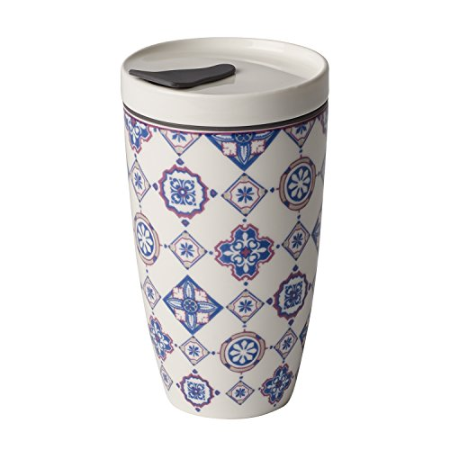 like. by Villeroy & Boch To Go Indigo Coffee-to-Go-Becher, 2-teilig, 350 ml, Premium Porzellan/Silikon, Blau/Lila
