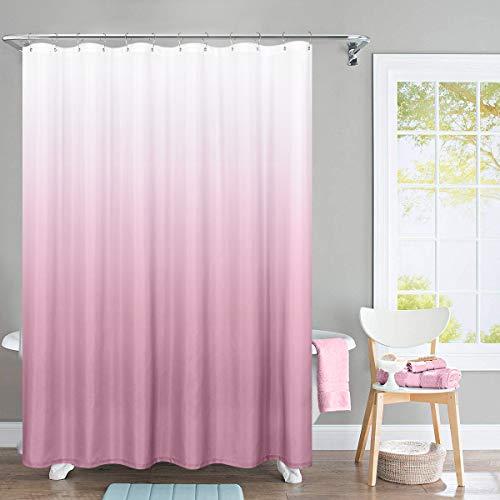 TOPICK Wasserdichter Stoff Duschvorhang für Badezimmer, Waffel gewebter Stoff Metall Ösen Oben 175x180cm (175cm*180cm, Farbverlauf Rosa)