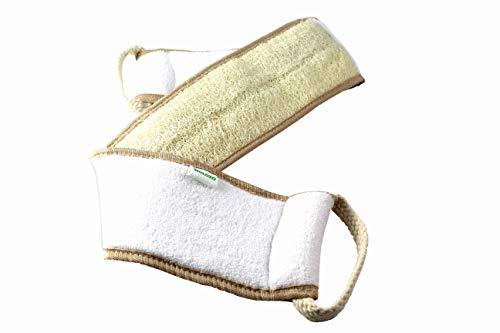 WOLOXO Rückenbürste Körperbürste Badebürste Duschbürste Rückenscrubber Eincremehilfe für Rücken mit 100% Luffa Natur Massagebürste Anti Cellulite Peeling Körper Fuß