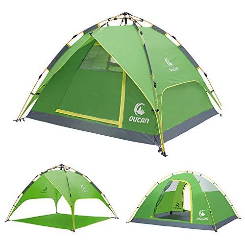 en Plein air Instant 3-4 Personne Pop Up Dôme Tente Étanche Léger Double Couche Tente De Camping pour La Chasse en Plein Air Randonnée Escalade Voyage-Green