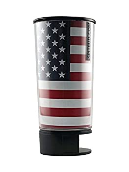 Spit Bud Portable Spittoon Bottle - Cupholder Friendly - Spill Resistant - Built In Can Opener and Holder - USA Flag