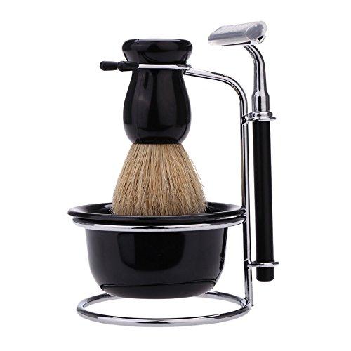 Abody Kit de Brocha de afeitar+Jabonera+Sostenedor+Maquinilla de afeitar(con 5 hojas de reemplazo) Juego 4 en 1 afeitado manual para barba hombres