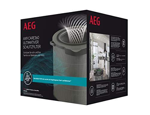 AEG AFDCAR4 Filter CARE360 (Passend für AX91-404DG Luftreiniger, aktiver Virenschutz, beseitigt 99,9% der Bakterien und Viren, reine Luft, Feinstaubfiltration, lange Lebensdauer, grau)
