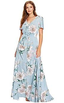 Milumia Women Floral Print Flowy Short Sleeves Button Down Split Long Maxi Dress Blue Large