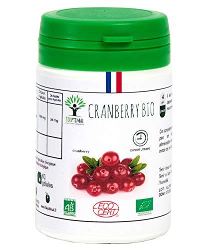 Cranberry bio | Complément alimentaire | Confort Urinaire Antioxydants | Bioptimal - nutrition naturelle | Fabriqué en France | Certifié par Ecocert | Satisfait ou Remboursé 30 jours | 60 gélules