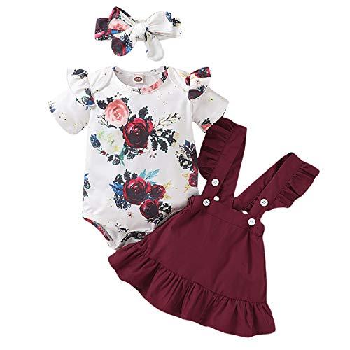 puseky Conjunto de Trajes de Diadema con Volantes Florales para Niñas Recién Nacidas de 0-18 M + Falda con Tirantes + Conjunto de Conjuntos de Diadema
