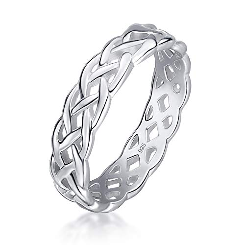 Amberta Women's 925 Sterling Silver Ring Celtic Knot Design Eternity Band: Inside Circumference 53.8 mm - Size 6.75