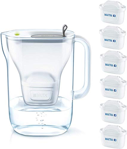 Brita Style Water Filter Jug System 2.4L with 6 x Maxtra+ Filter Cartridges Pack BPA Free - Grey