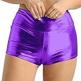 Alvivi Women's Shiny Metallic High Waist Boyshort Rave Dance Swimming Booty Shorts Hot Panties Purple X-Large