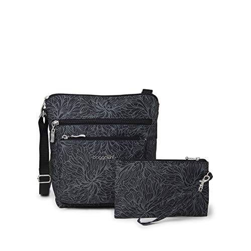 Baggallini Pocket Crossbody Bag With RFID-Protected Wristlet, Midnight Blossom