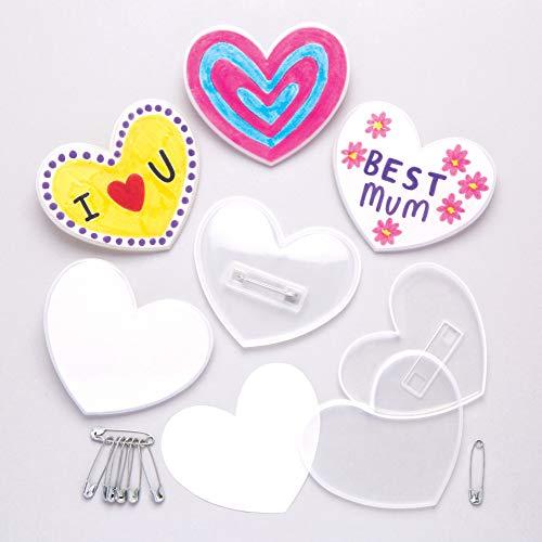 Baker Ross Kits de chapas con forma de corazón (Paquete de 10) Para hacer manualidades con niños para el Día de la Madre o San Valentín.