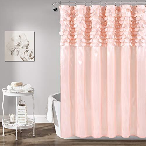 Lush Decor, Blush Lillian Shower Curtain | Textured Shimmer Circle Design Bathroom, x 72