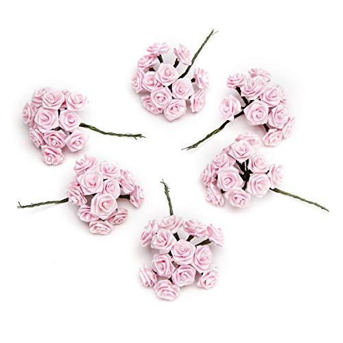 Darice VL6375 Decorative Ribbon Rose Pick, 1-Inch, Pink