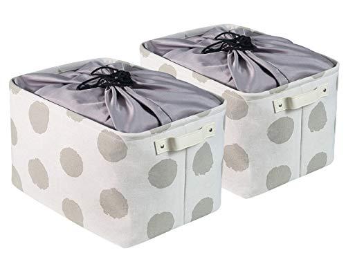 BrilliantJo groß Aufbewahrungsbox, 2er Set Ordnungsbox mit Leder Griff und Kordelzugabdeckung Faltbarer Stoffbox, Aufbewahrung Kisten für Kleidung, Spielzeug (Waschbar, 42 * 30 * 25cm, Weiß+Punkt)