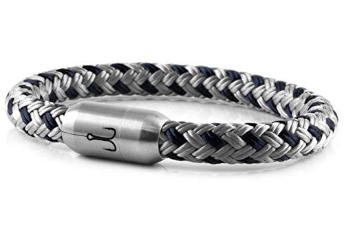 "Fischers Fritze® Segeltau Armband MAKRELE 2.0"" Silbergrau Marineblau, 21.0"