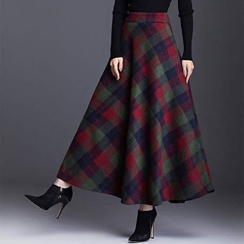 Astemdhj Falda Escocesa Scottish Skirt Otoo Invierno Cintura Alta Paraguas Escocs Maxi Falda Mujeres Casual Bolsillo Inglaterra Rejilla Falda A Cuadros Falda Larga XXL Greengrid