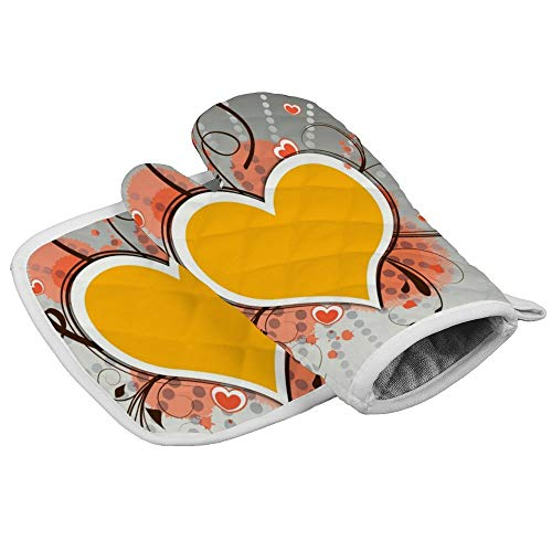 N/A Hartjes Liefde Kleurrijke Behang Oven Mitts en Pot Houders Dichte Hittebestendige Flexibele Antislip Handschoenen voor Koken Bakken Aangepast