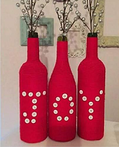Crafting with Love - Jarrón decorativo pintado a mano para decoración del hogar o de la vida o se puede utilizar como maceta, material: cristal, juego de 3 botellas, color: rojo