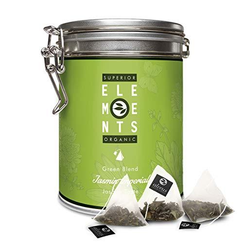 Jasmintee Beutel Bio Völlig Neu Erfunden, 4 Premium Grüne und Weiße Tees in Einer Außergewöhnlich Edlen Komposition, Jasmin Imperial Ohne Aroma, 15 x 3g Teebeutel Dose von alveus Premium Teas