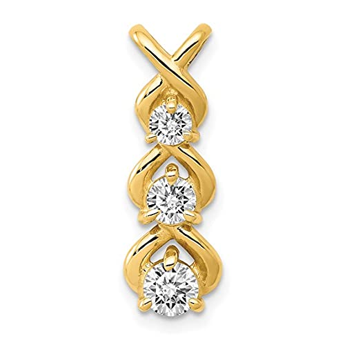Jewelry-14k AAA Diamond 3 Stone Criss-Cross Chain Slide