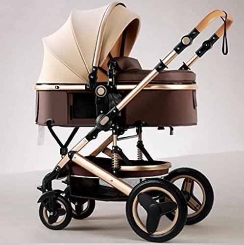 Cochecito para recién nacidos, ligero y compacto, plegable, recién nacido hasta 25 kg, con respaldo ajustable, asiento superior convertible en capazo para recién nacidos (Khaki)