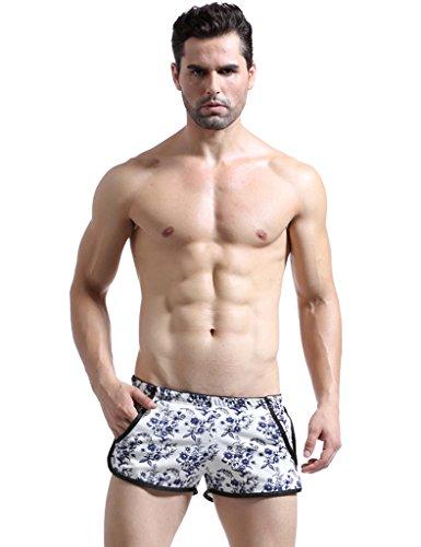 Bestgift Homme Vogue Shorts Boxer Underwear Bleu FloralL
