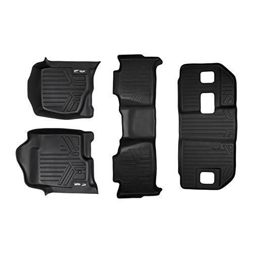 MAXLINER Floor Mats 3 Row Liner Set Black for 2007-2014 Chevrolet Suburban/GMC Yukon XL and Denali XL