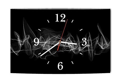 Homeyourself LAUTLOSE Designer Wanduhr Modern 3D schwarz graumodern Dekoschild Abstrakt Bild 39 x 25 cm
