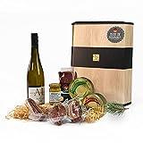 """Schwarzwald Metzgerei - Geschenkset """"Vesper"""" mit verschiedenen Wurtsspezialitäten, einem Gourmet-Senf und hervorragenden Weißwein - 8-teilig"""