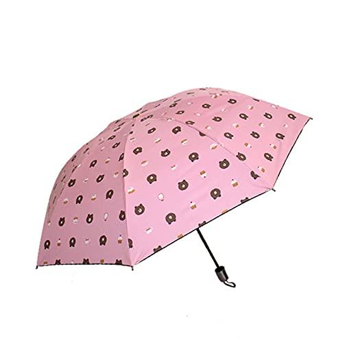 LYRRHT Paraguas Lluvia Y Sol Sombrilla De Doble PropóSito PatróN De Oso De Dibujos Animados Sombrilla Plegable Protector Solar Paraguas Anti-Ultravioleta Rosado