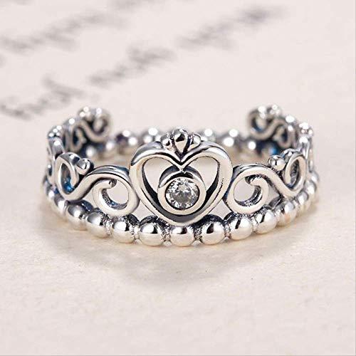 IWINO versilberter Frauenring My Princess Stapelbarer Ring Clear Girl Geschenk Fit Lady Fine Jewelry 8