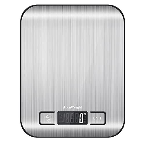 ACCUWEIGHT Bascula de Cocina Digital 5 Kilogramo 11 Libra para Alimentos Comida con Vascula Bascula de Acero Inoxidable, Función de Tara
